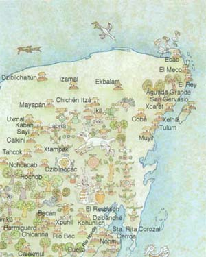 Maya World Map.Maya World Map Maya Routes In Mexico Maya Tours By Maya World